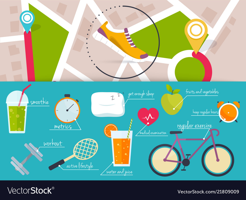 Concept of healthy lifestyle infographics icons