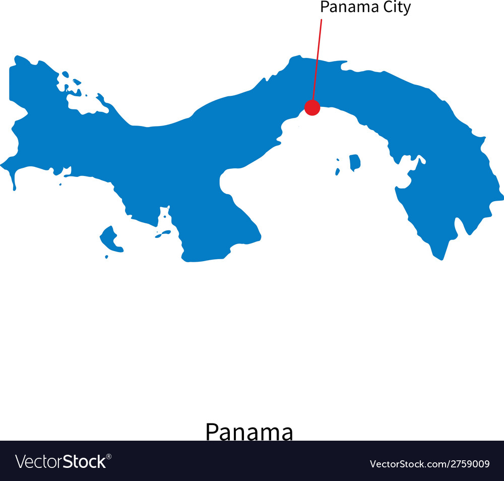 Detailed map of Panama and capital city Panama Vector Image