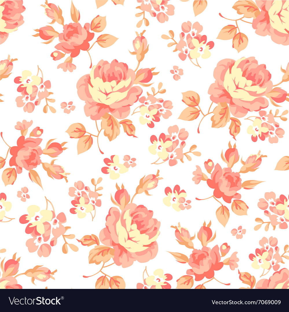 Floral pattern with orange roses