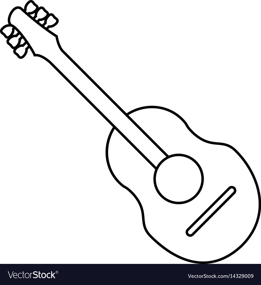 Guitar traditional acoustic music thin line vector image