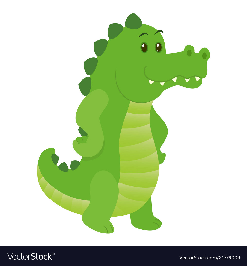 Hand drawn crocodile natural colors vector image