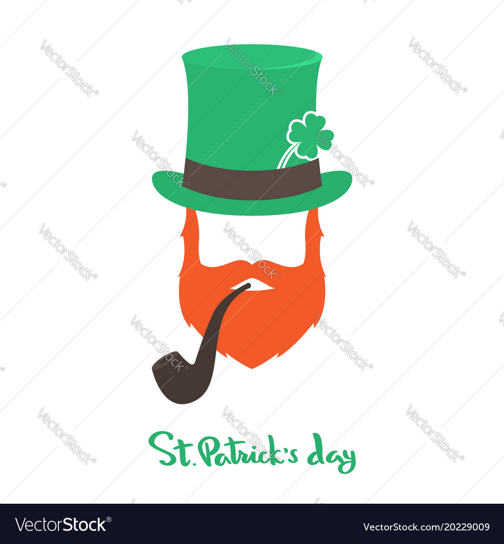 Happy saint patricks day card with face irishman