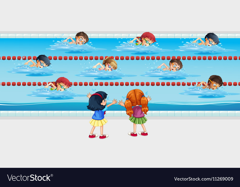 Kids practice swimming in the pool