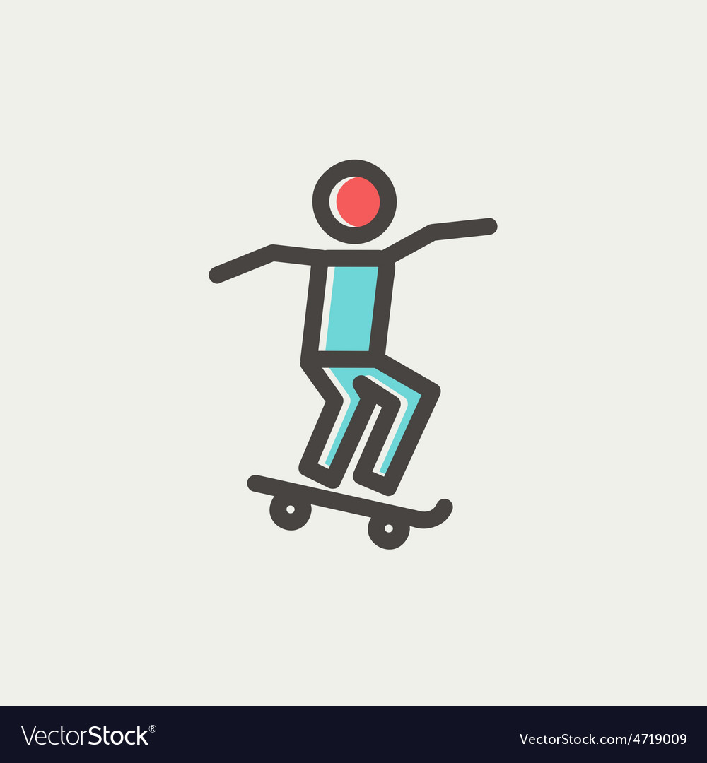 Man skateboarding thin line icon vector image