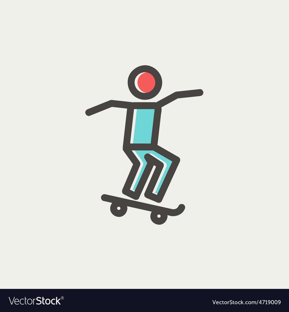 Man skateboarding thin line icon