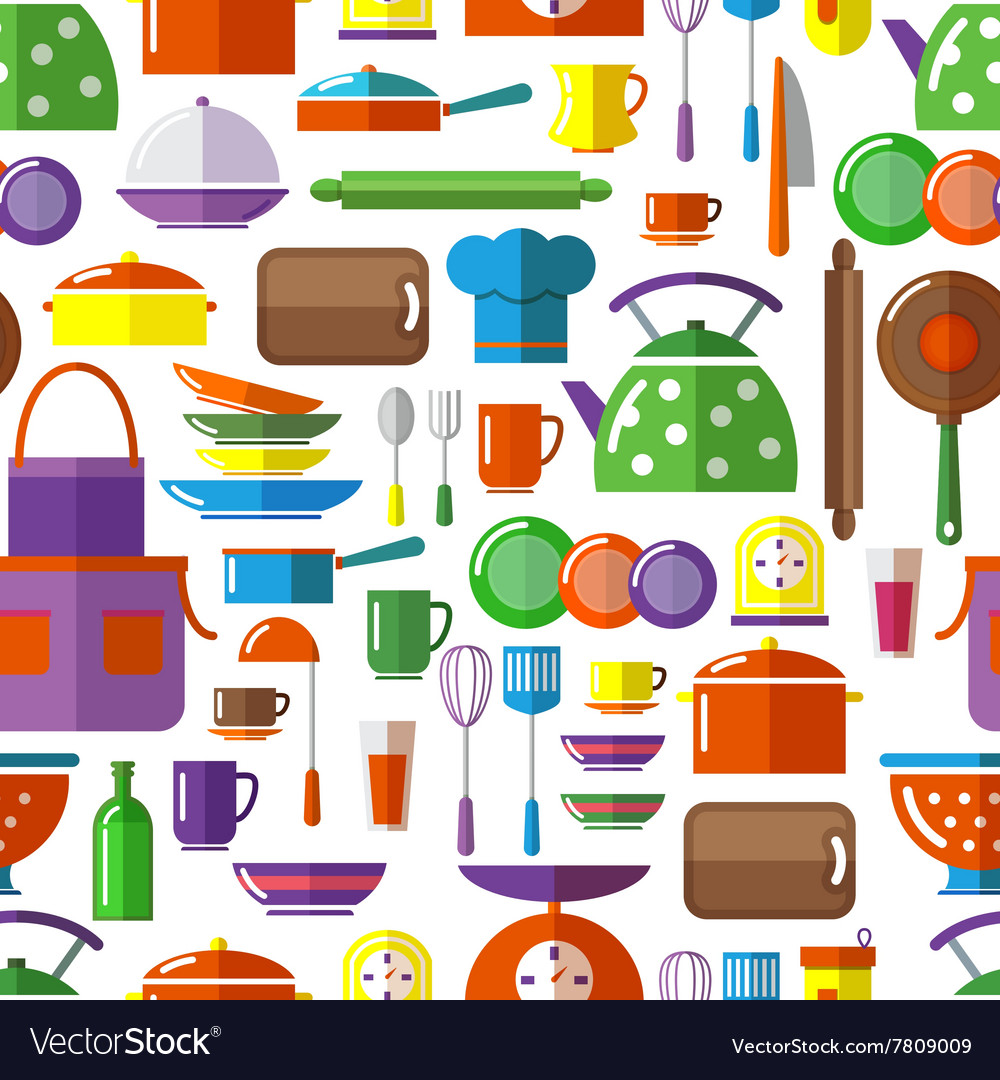 Seamless kitchen tools background