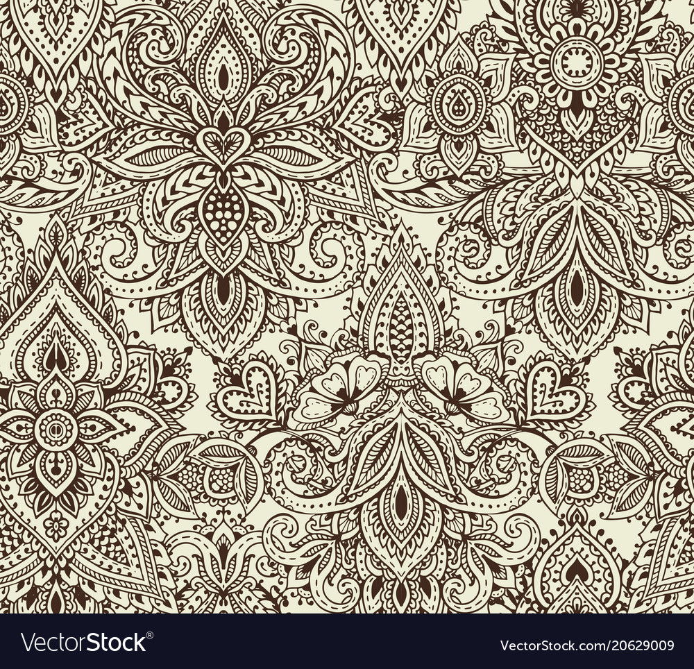 Seamless pattern with henna mehndi floral