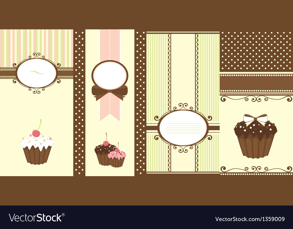 Set of banners with cupcakes