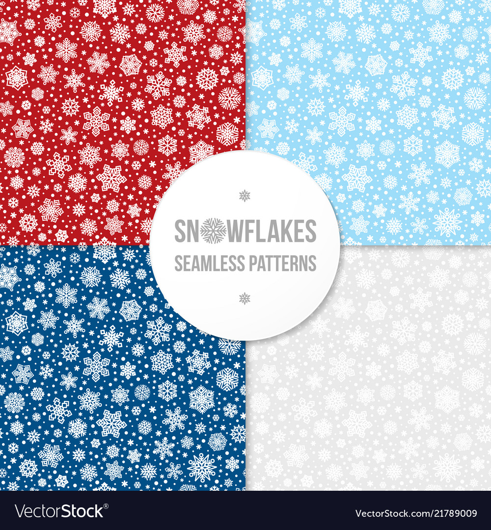Set of seamless patterns with white snowflakes