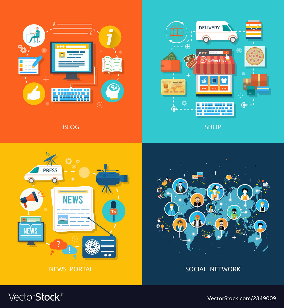 Social media and network connection concept vector image