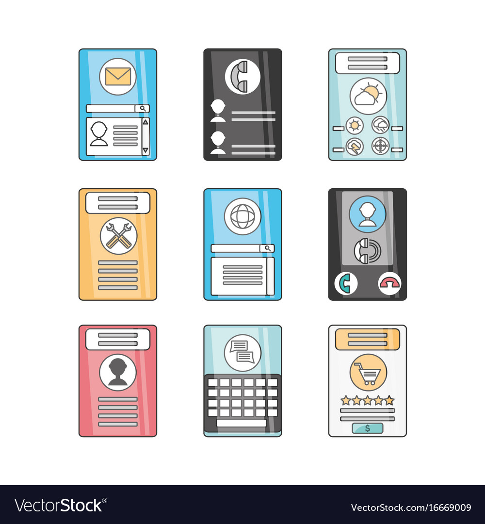 Technology smartphone with touch screen apps vector image