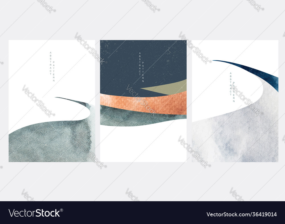 Abstract landscape background with japanese wave