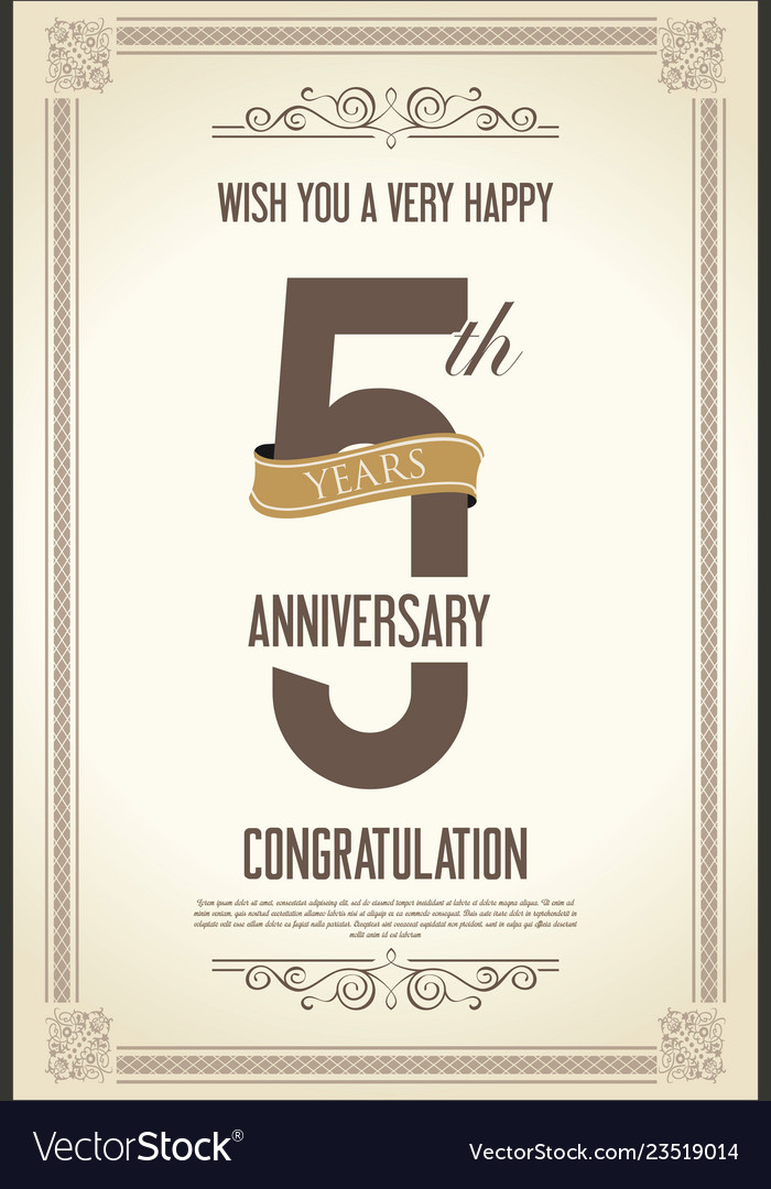 Anniversary retro vintage background 5 years