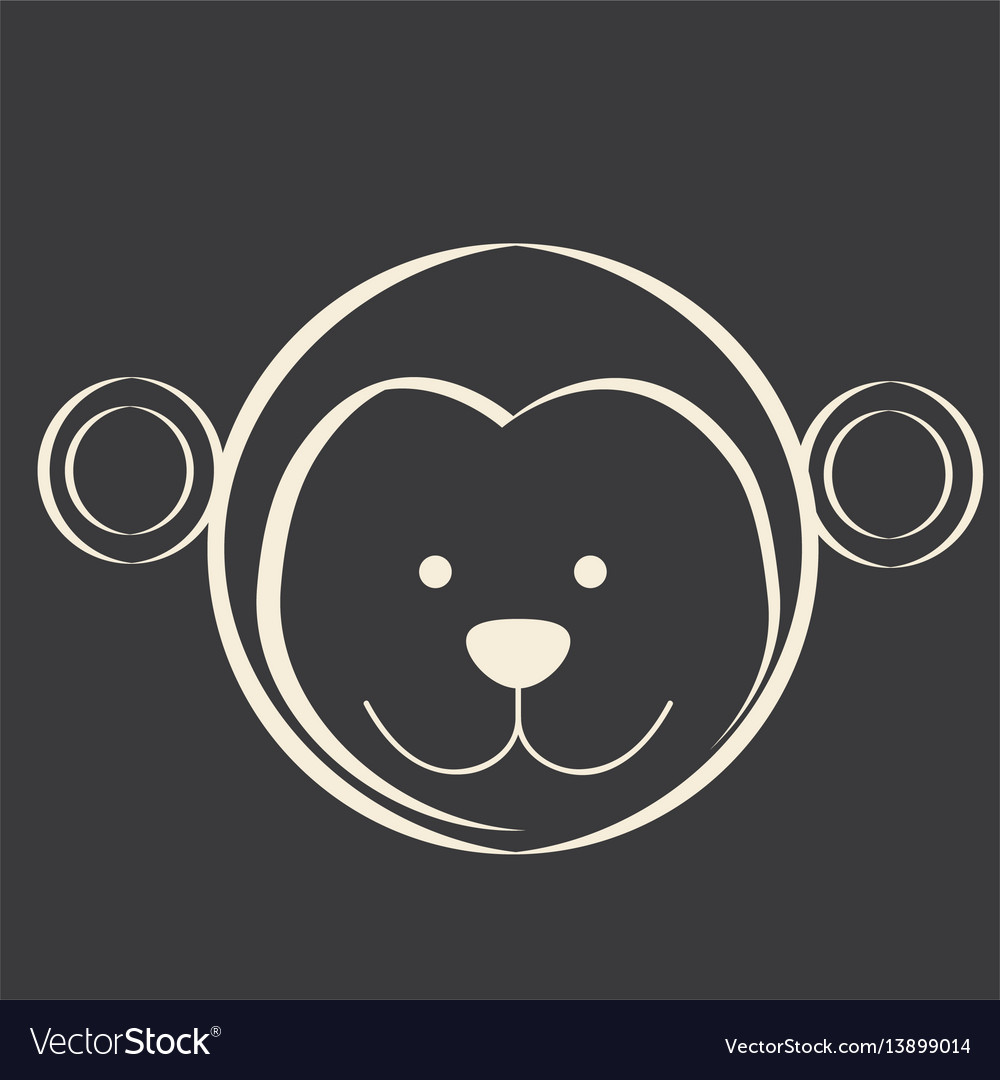 Black square picture of monkey animal vector image
