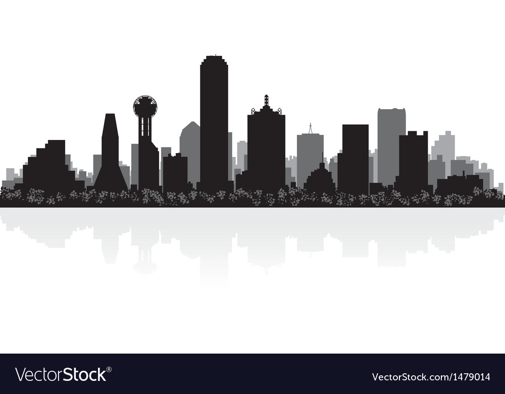 dallas usa city skyline silhouette royalty free vector image rh vectorstock com Downtown Dallas Skyline Vector Dallas Skyline at Night