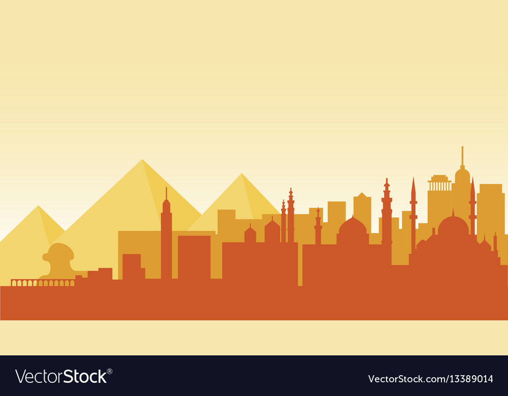 Egypt silhouette architecture buildings town city