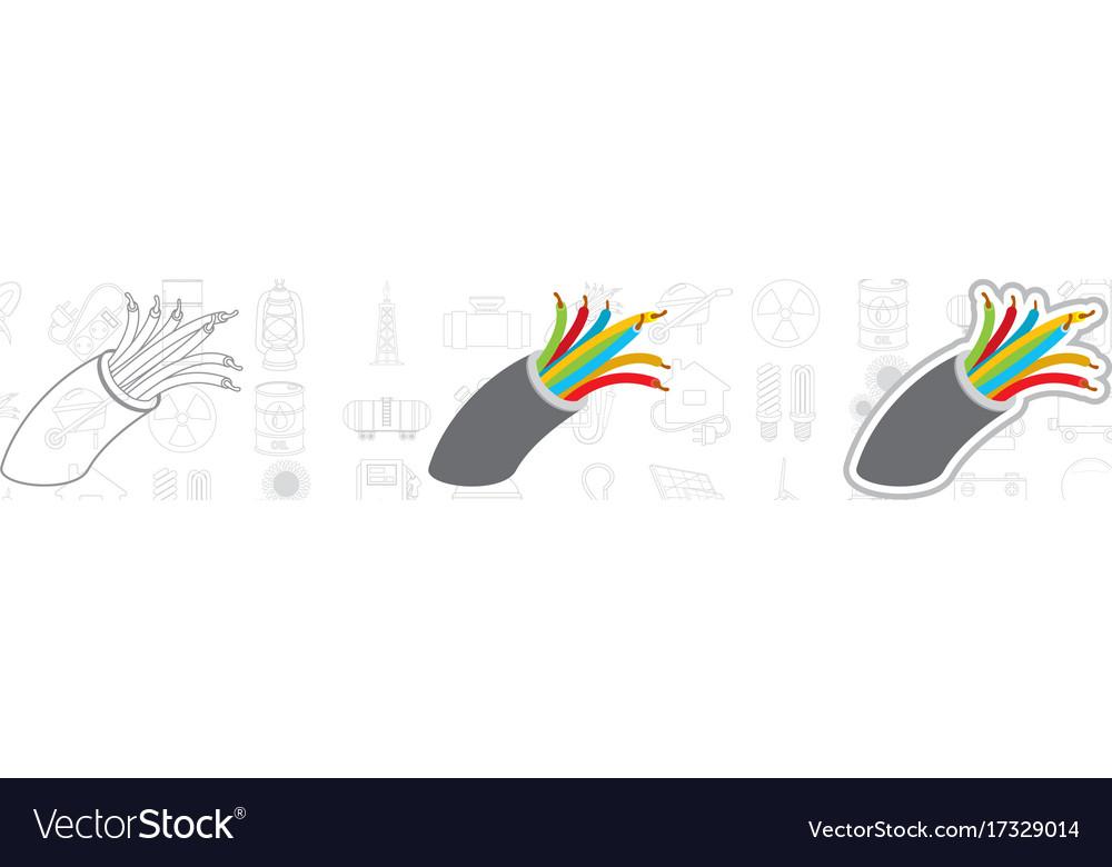 Electric cabel logo energetics energy vector image