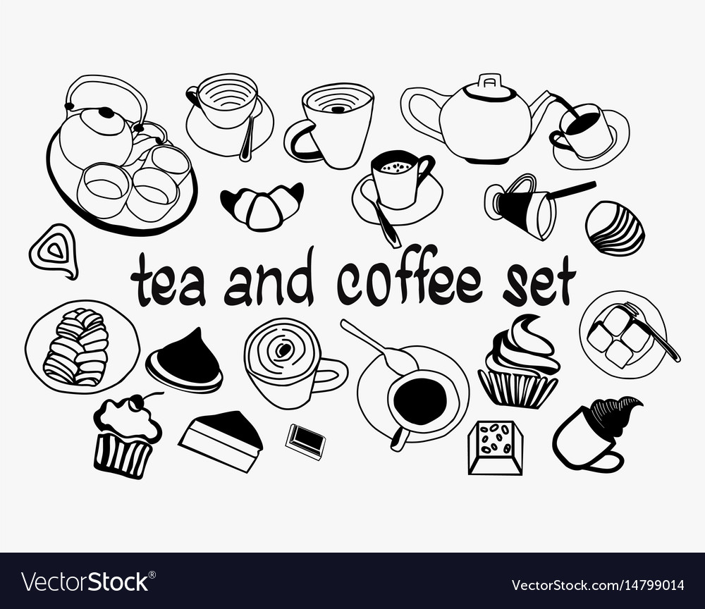 Hand drawn sweet collection set with tea pot