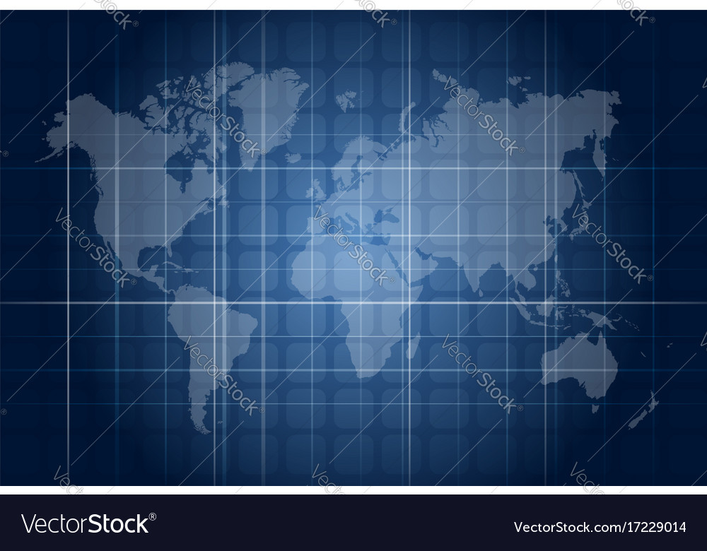 Modern Blue Digital World Map Technology Concept Vector Image