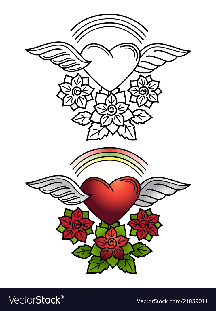 Rainbow heart and floral ornament tattoo design