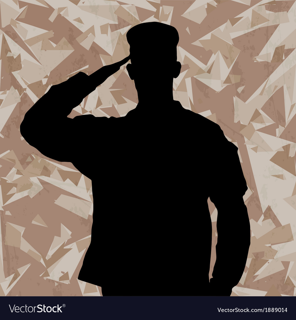 Saluting soldier on a desert army background