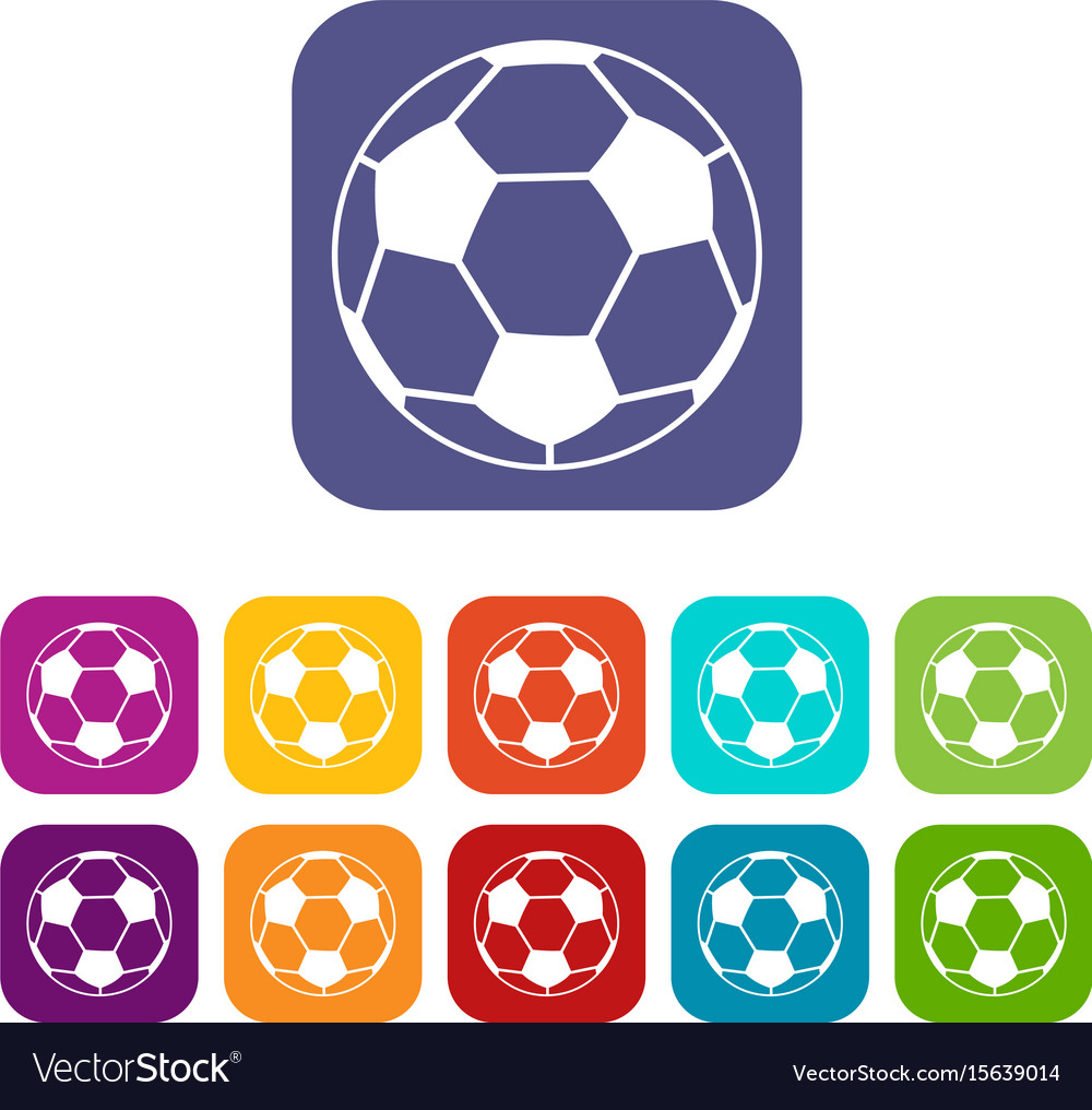 Soccer ball icons set flat vector image