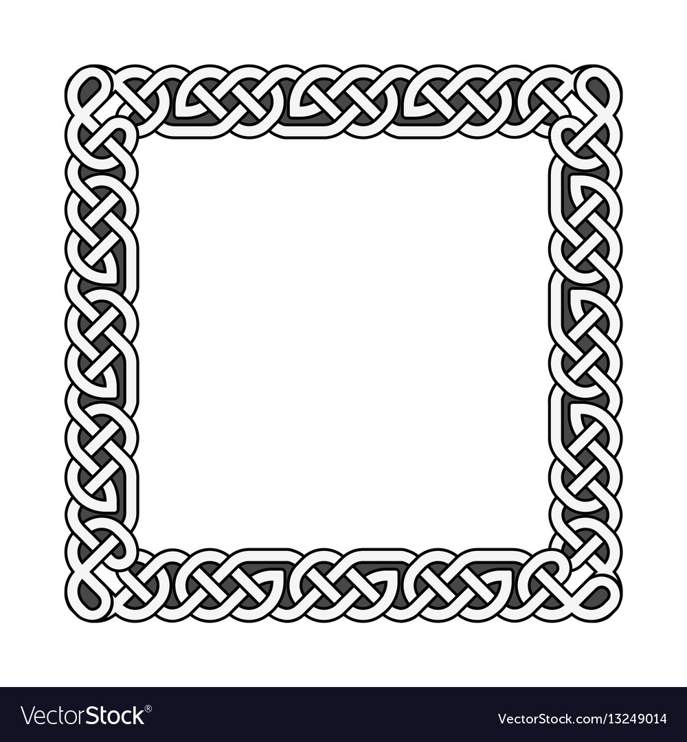 Square celtic knots medieval frame in black Vector Image