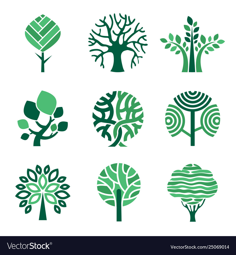 Tree logo green eco symbols nature wood tree vector