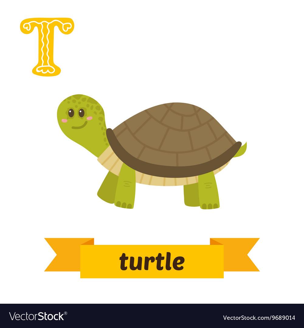 Turtle T letter Cute children animal alphabet in
