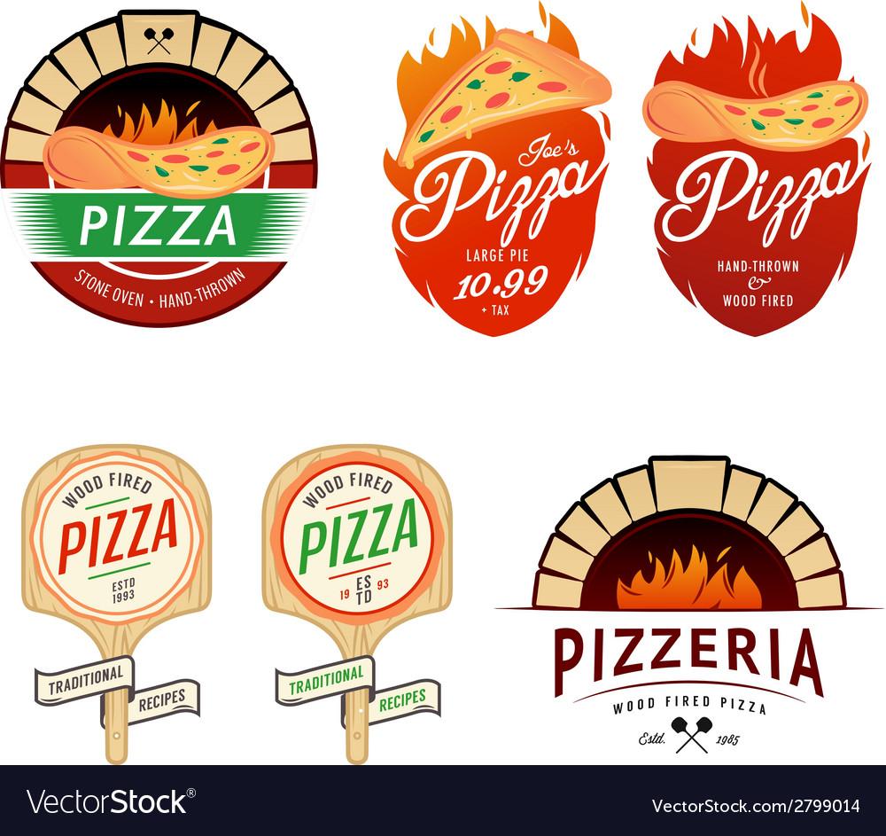 Vintage pizzeria labels badges design elements