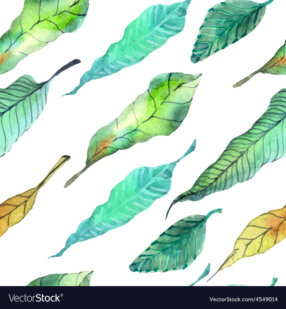 Watercolor leaves seamless floral background