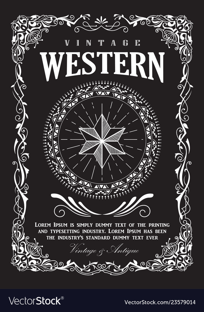 Western border vintage frame flourish banner
