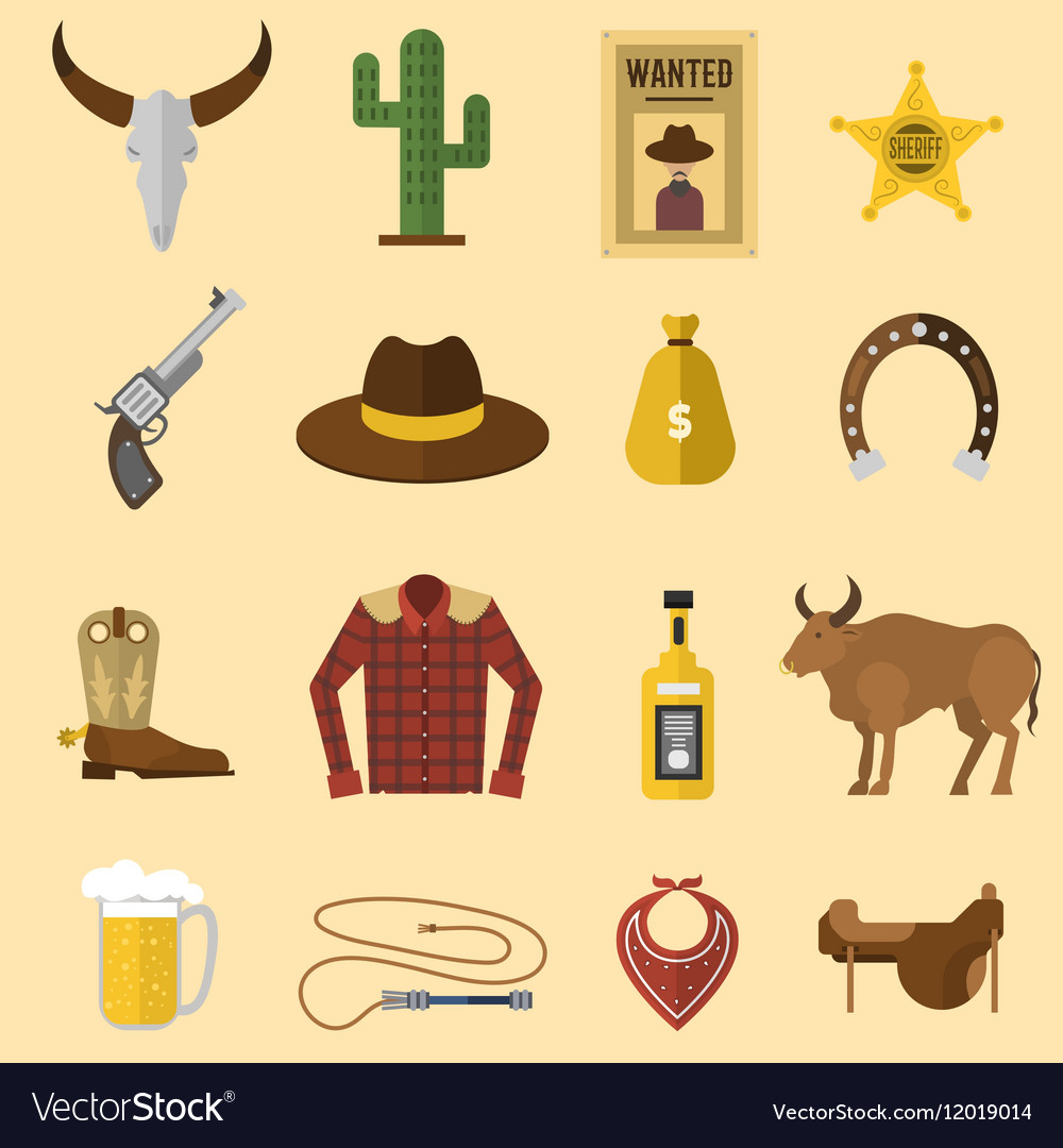 Wild west cowboy icons vector