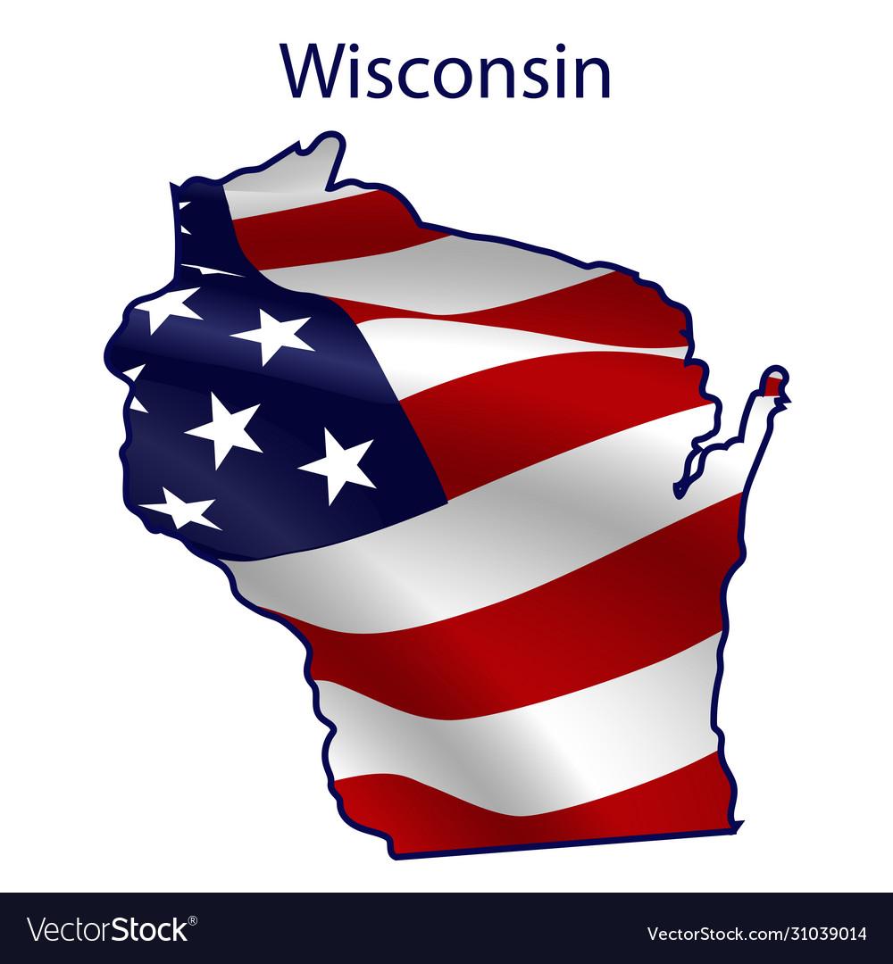 Wisconsin full american flag waving in wind