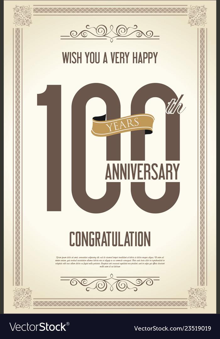 Anniversary retro vintage background 100 years