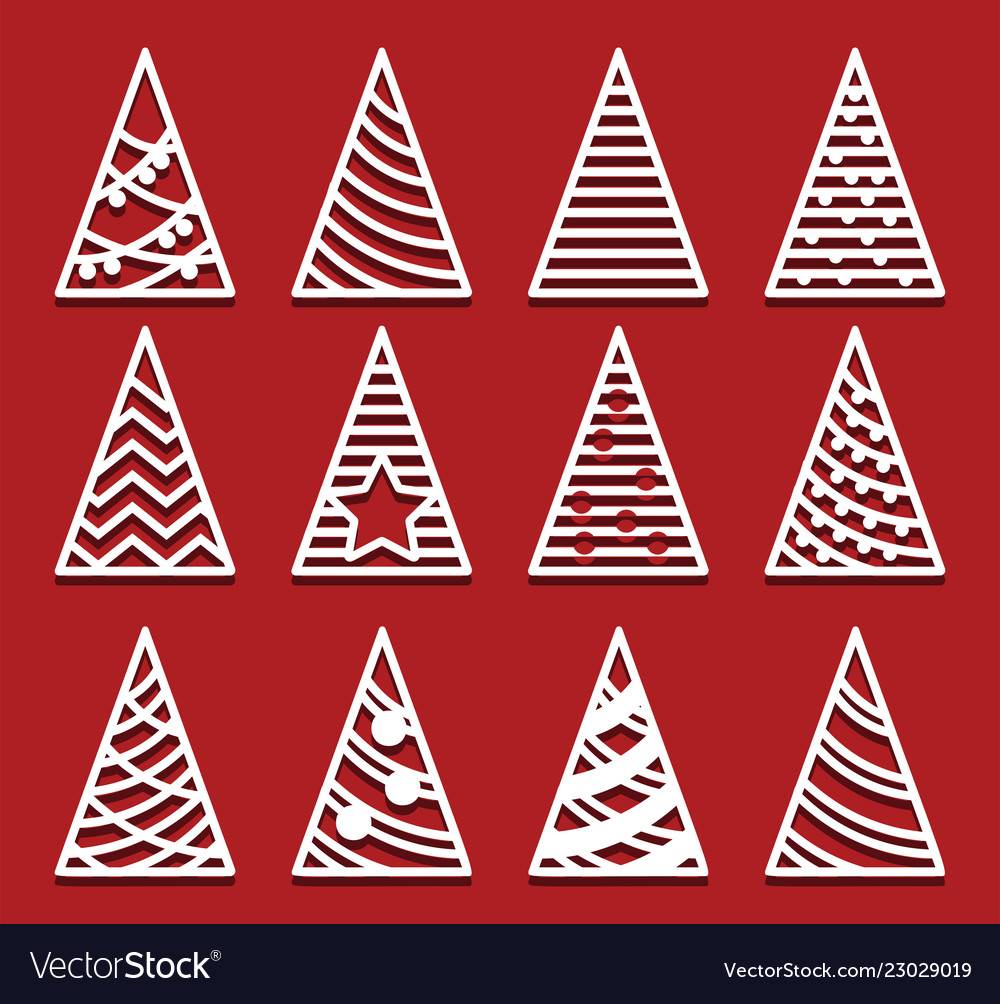 christmas trees for laser cutting new year card vector image