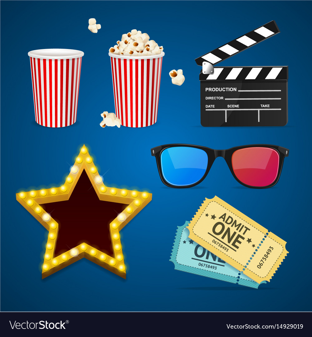 Cinema icon realistic objects set