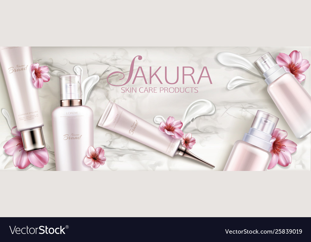 Cosmetics Bottles Skin Care Mockup Beauty Product Vector Image