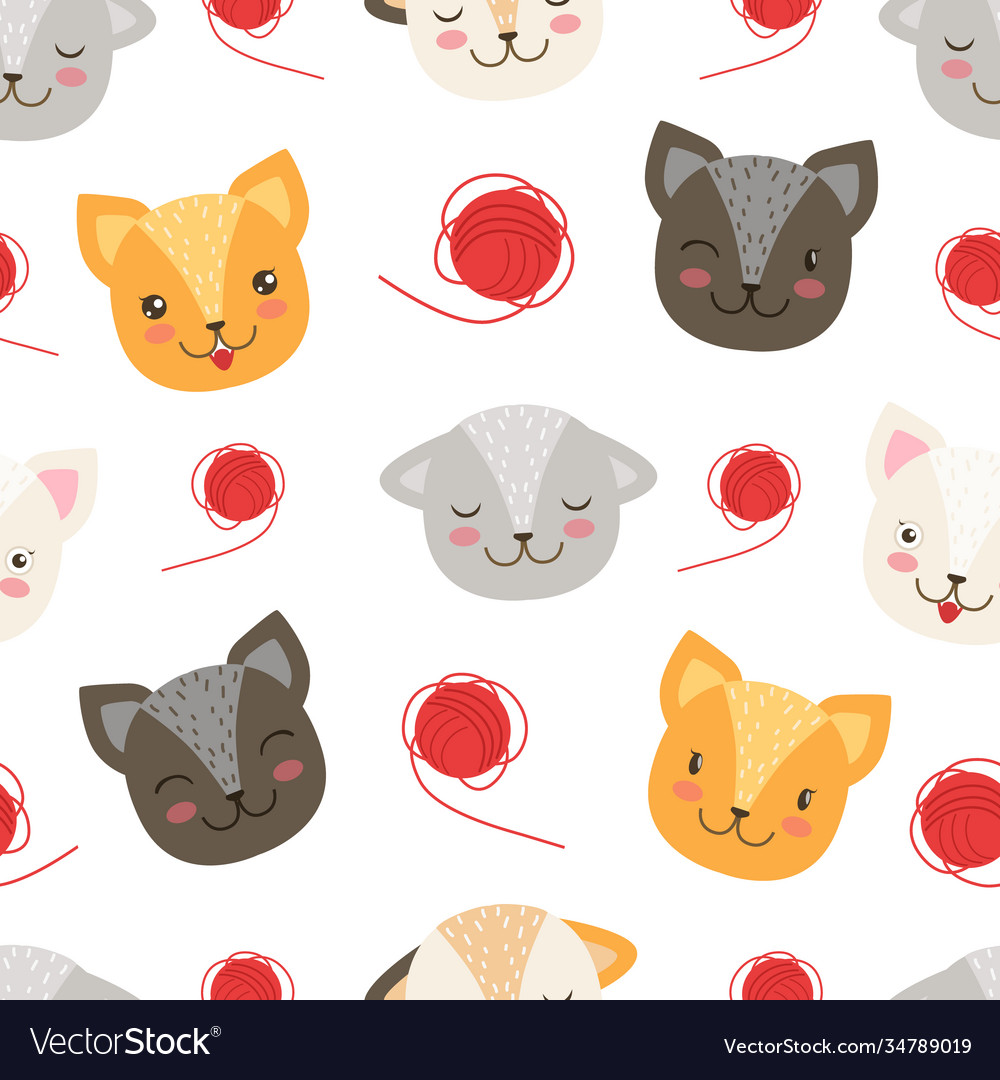 Cute heads cats seamless pattern pet animals