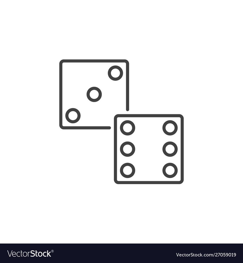 Dice linear icon dices symbol in thin line