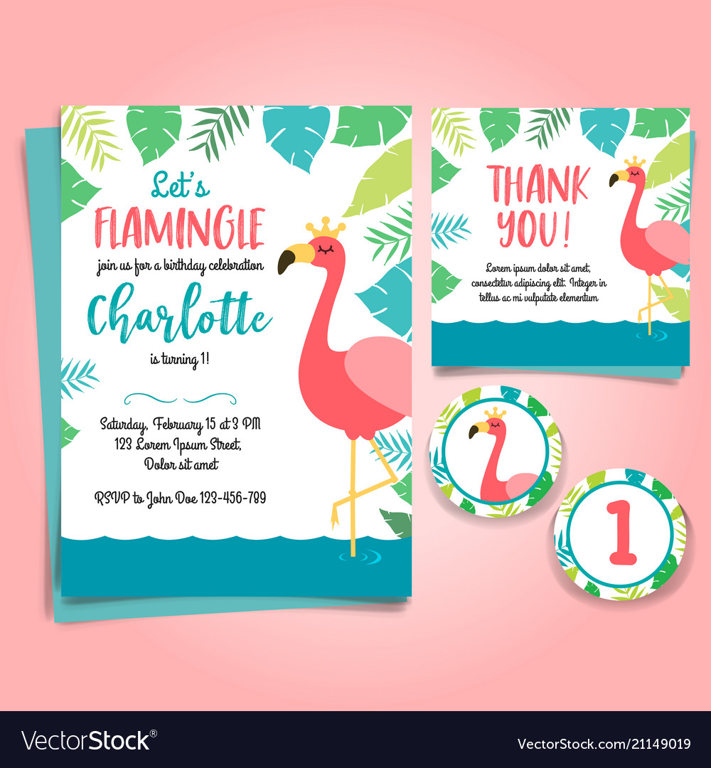 Flamingo birthday invitation pool party royalty free vector flamingo birthday invitation pool party vector image stopboris Image collections