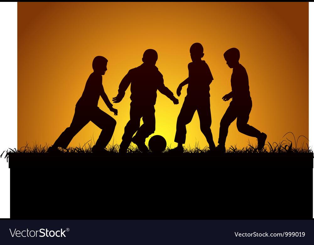 Four boys and football vector image