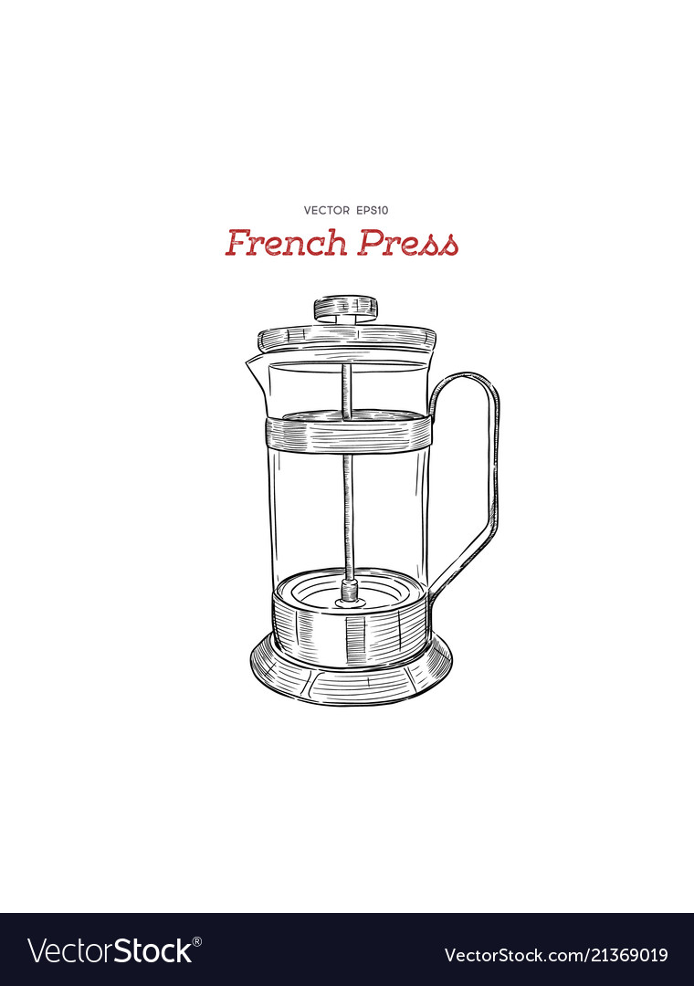 French Press Coffee Maker Hand Draw Vector Image
