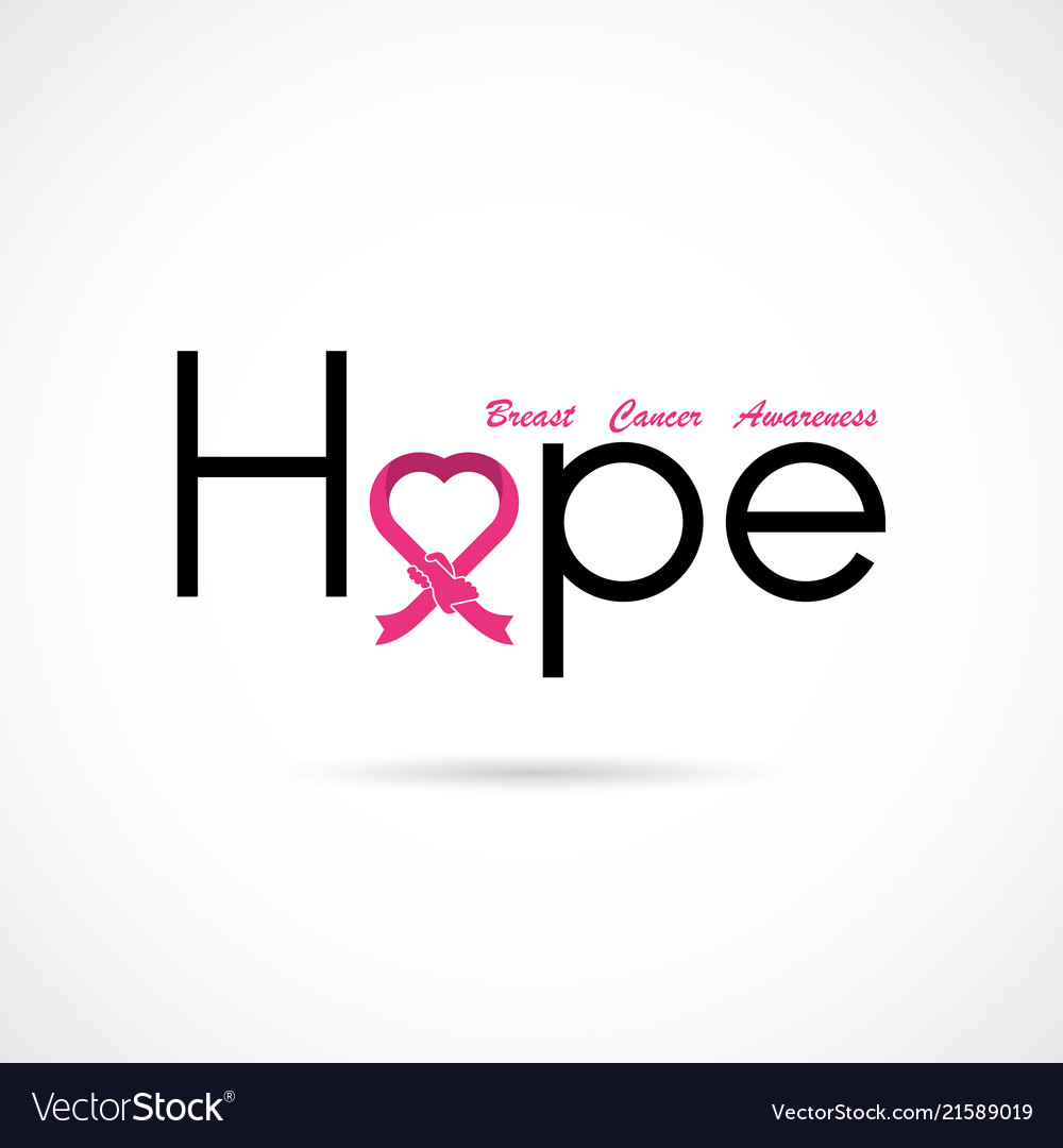 Hope typographicalhope word iconbreast cancer