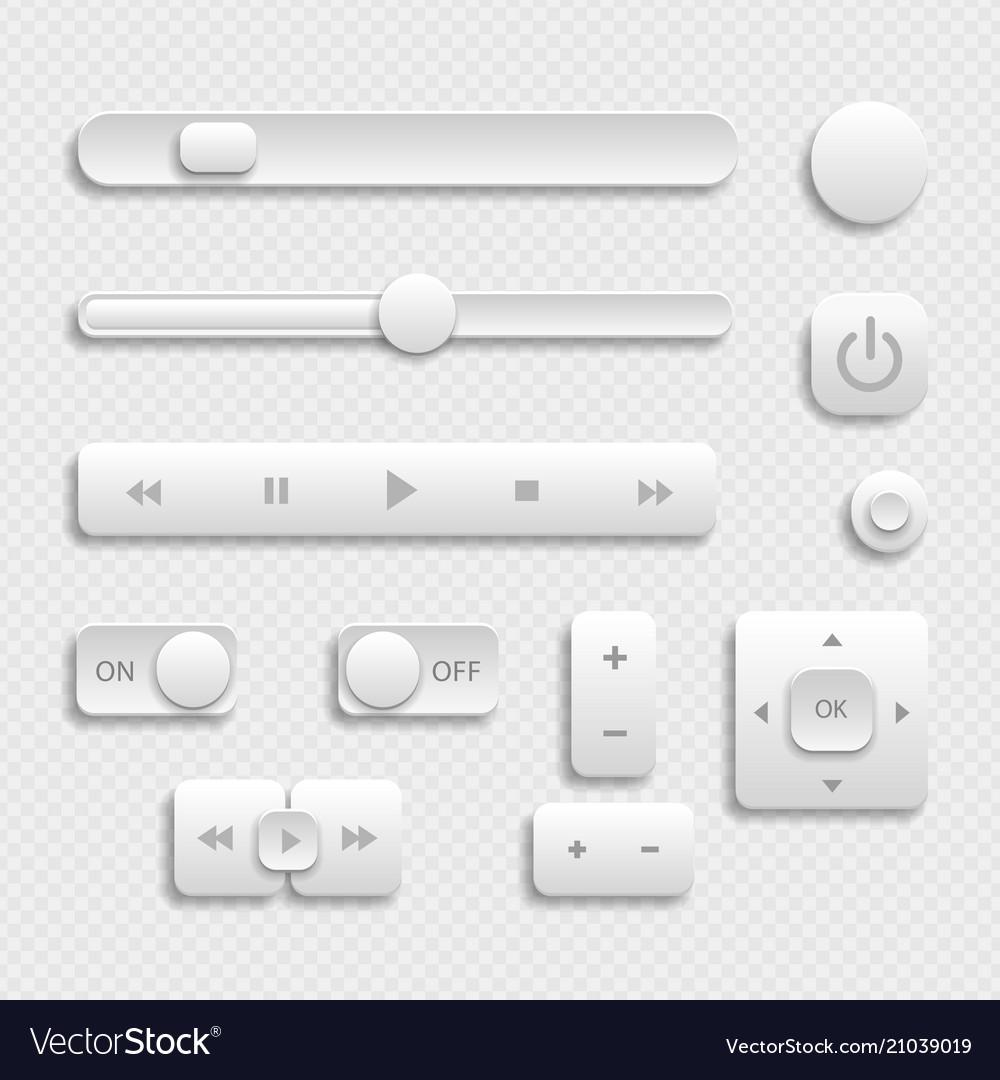 Light web ui elements design gray