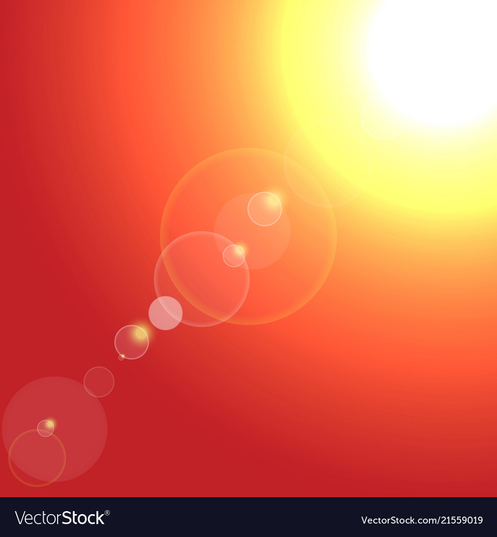Realistic sun burst with flare on red