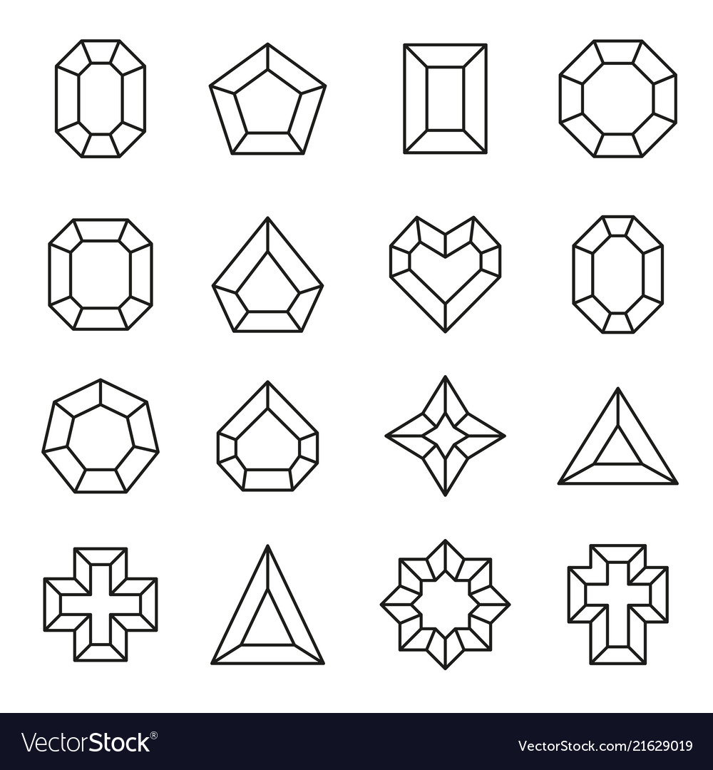 Set line diamond icons and signs vector