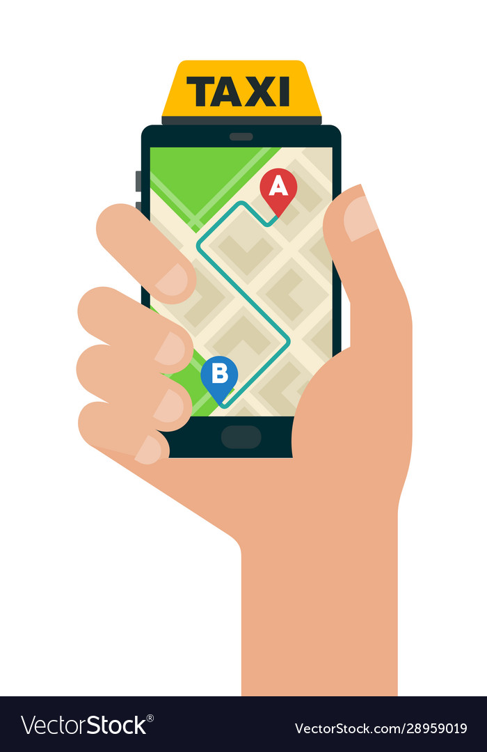 Taxi route in a smartphone icon flat isolated