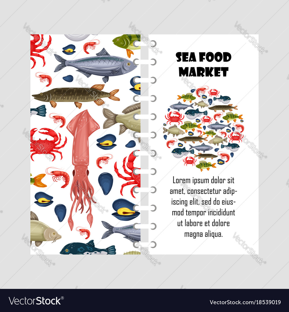 Template seafood set with crab fish