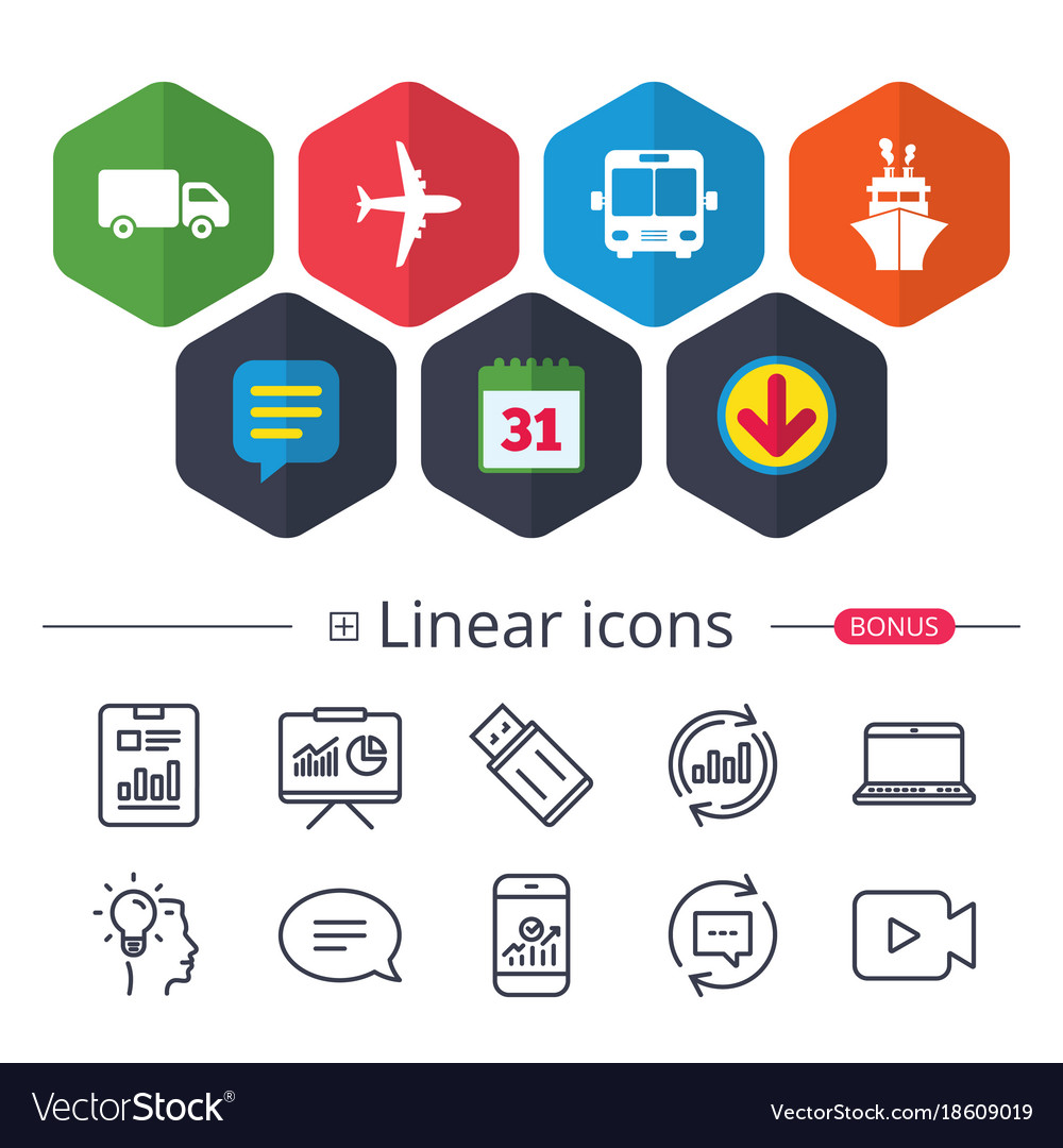 Transport icons truck airplane bus and ship vector image on VectorStock